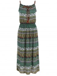Paisley Print Slip Maxi Boho Dress - COLORMIX