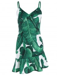 Palm Leaf Print Drop Waist Slip Dress - GREEN