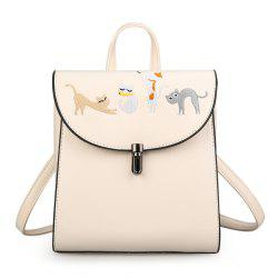 Cartoon Cat Embroidered Backpack - OFF-WHITE
