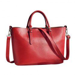 Buckle Straps Faux Leather Tote Bag
