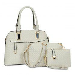 3 Piece Woven Faux Leather Handbag Set