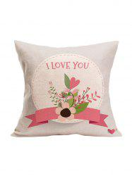 I Love You Flower Print Pillowcase
