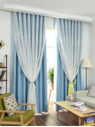Window Screen 1Pcs 2 couches Princess Rideau - Bleu Glacu00e9