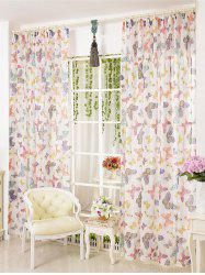 Pastoral Butterfly Sheer Voile Window Curtain -