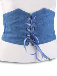 Denim Fabric Corset Belt with Lace Up -