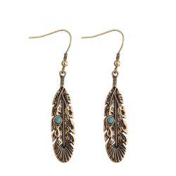 Artificial Turquoise Alloy Feather Earrings