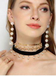 Faux Pearl Rhinestoned Sequins Jewelry Set