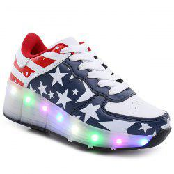 Faux Leather Led Luminous Athletic Shoes
