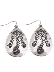 Engraved Flower Leaf Alloy Teardrop Earrings