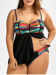 Plus Size Printed Underwire Tankini Set