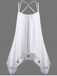 Crochet Trim Criss Cross Asymmetric Tank Top - WHITE