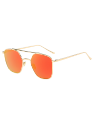Reflective Geometric Metal Crossbar Mirror Sunglasses - GLOD FRAME + ORANGE LENS