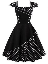 Cap Polka Dot Corset Vintage Dress - BLACK