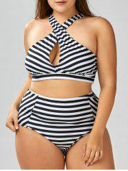 Plus Size Stripe Crossover High Waisted  Bikini