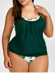 Tropical Plus Size Halter Tankini Swimsuits - GREEN