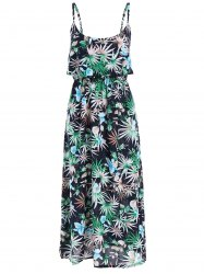 Floral Leaf Print Sleeveless Crop Overlay Dress -