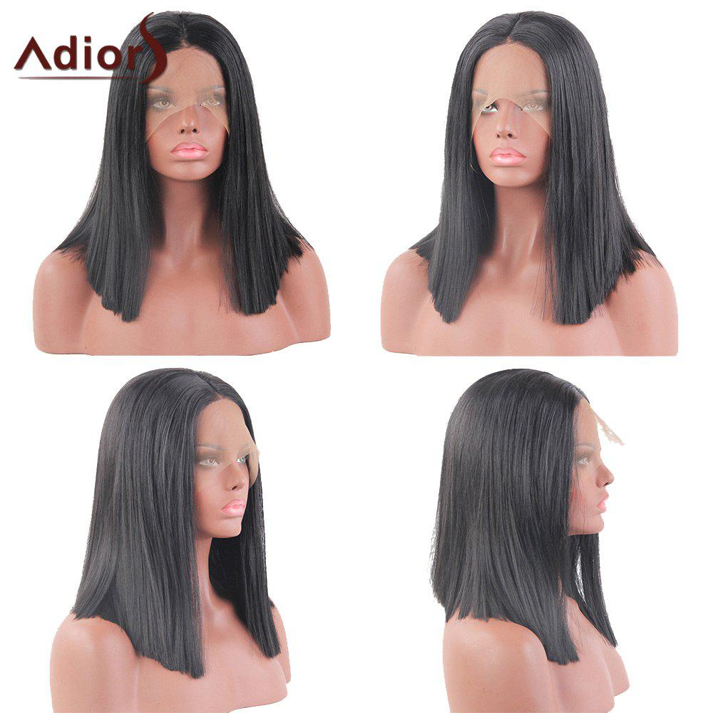 Unique Adiors Medium Middle Part Straight Bob Lace Front Synthetic Wig