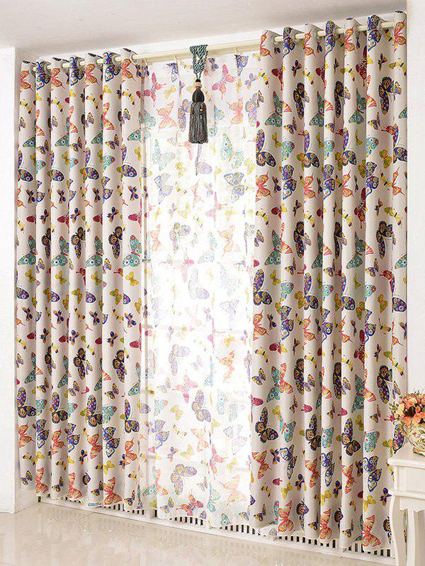 Best Butterfly Print Window Screens Blackout Curtain(Without Tulle)