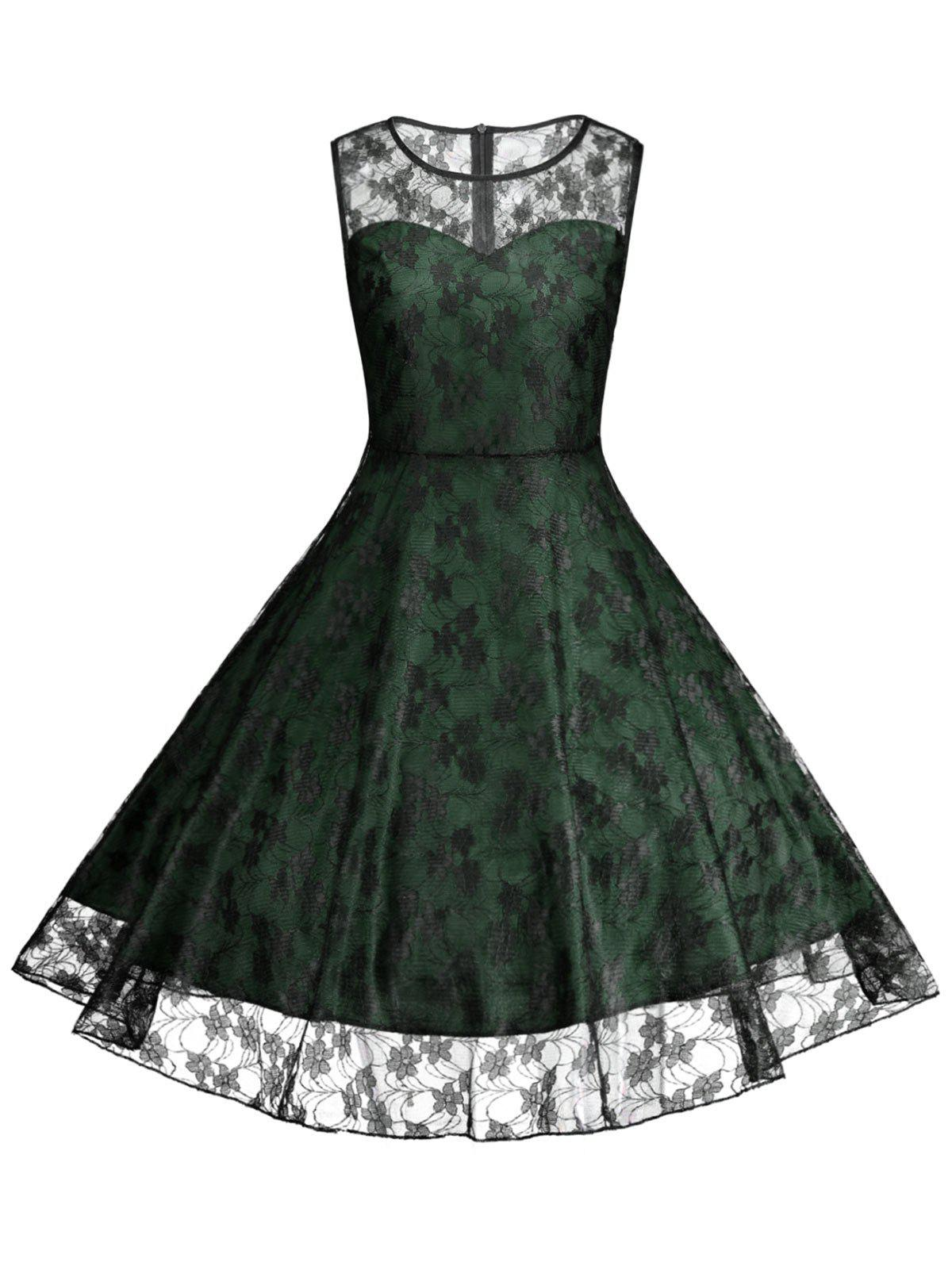 Plus Size Lace Cocktail Formal Party DressWOMEN<br><br>Size: 2XL; Color: GREEN; Style: Vintage; Material: Lace,Polyester; Silhouette: A-Line; Dresses Length: Knee-Length; Neckline: Round Collar; Sleeve Length: Sleeveless; Waist: High Waisted; Embellishment: Lace; Pattern Type: Floral; With Belt: No; Season: Summer; Weight: 0.2400kg; Package Contents: 1 x Dress;