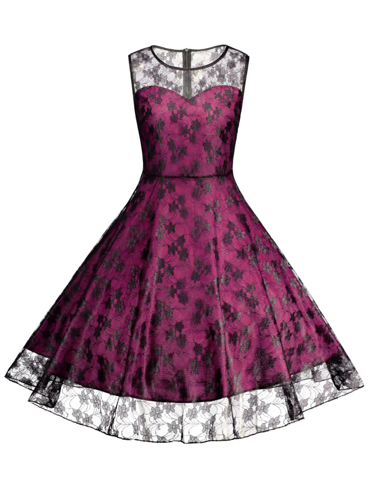Plus Size Lace Cocktail Formal Party DressWOMEN<br><br>Size: 2XL; Color: TUTTI FRUTTI; Style: Vintage; Material: Lace,Polyester; Silhouette: A-Line; Dresses Length: Knee-Length; Neckline: Round Collar; Sleeve Length: Sleeveless; Waist: High Waisted; Embellishment: Lace; Pattern Type: Floral; With Belt: No; Season: Summer; Weight: 0.2400kg; Package Contents: 1 x Dress;