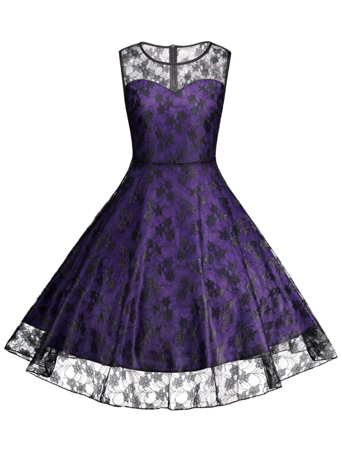 Plus Size Lace Cocktail Formal Party DressWOMEN<br><br>Size: 5XL; Color: PURPLE; Style: Vintage; Material: Lace,Polyester; Silhouette: A-Line; Dresses Length: Knee-Length; Neckline: Round Collar; Sleeve Length: Sleeveless; Waist: High Waisted; Embellishment: Lace; Pattern Type: Floral; With Belt: No; Season: Summer; Weight: 0.2400kg; Package Contents: 1 x Dress;