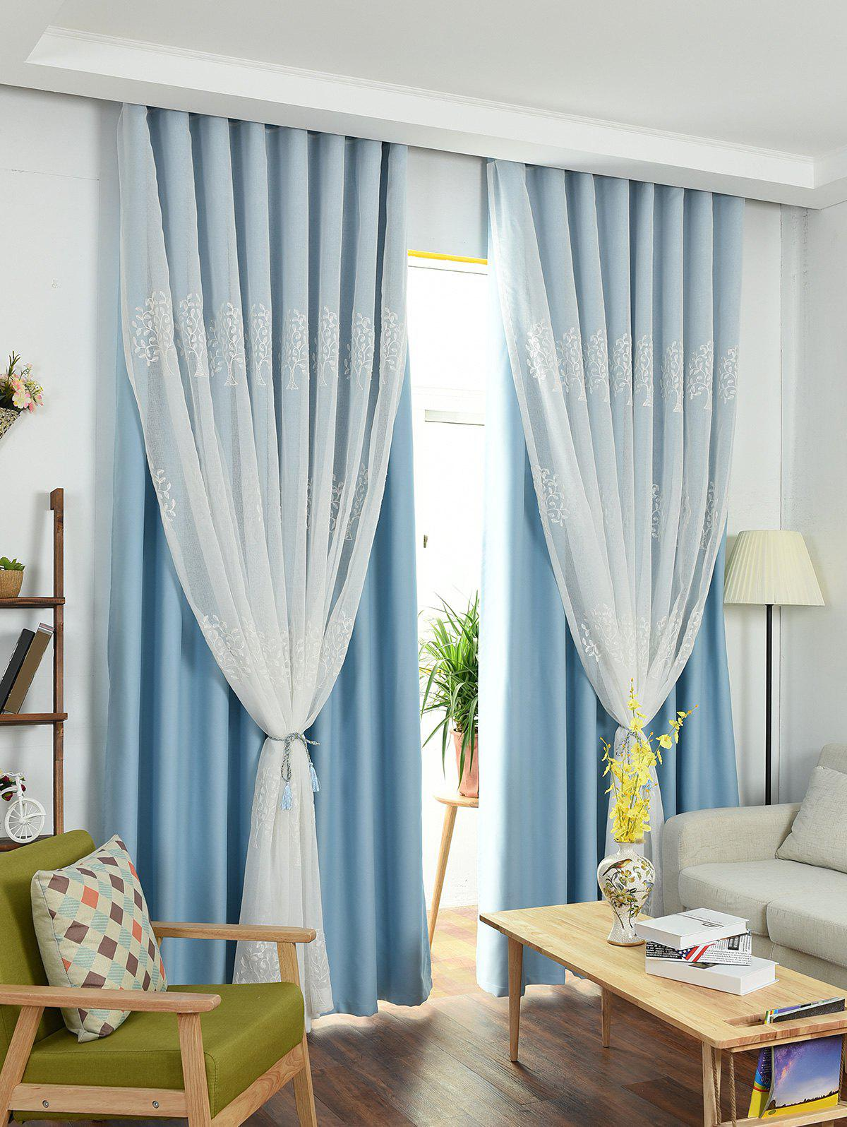 Window Screen 1Pcs 2 Layers Princess CurtainHOME<br><br>Size: W54 INCH * L84 INCH; Color: ICE BLUE; Applicable Window Type: French Window; Function: Decoration + Full Light Shading; Installation Type: Ceiling Installation; Location: Window; Material: Polyester / Cotton; Opening and Closing Method: Left and Right Biparting Open; Pattern Type: Floral,Solid; Processing: Punching; Processing Accessories Cost: Excluded; Style: European and American Style; Type: Curtain; Use: Cafe,Home,Hotel,Office; Weight: 1.2600kg; Package Contents: 1 x Double Layers Window Curtain;