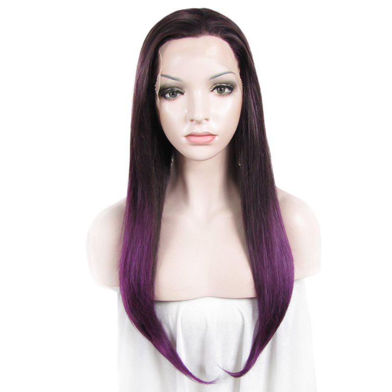 Buy Charming Tail Adduction Straight Mixed Color Vogue Long Synthetic Women's Lace Front Wig