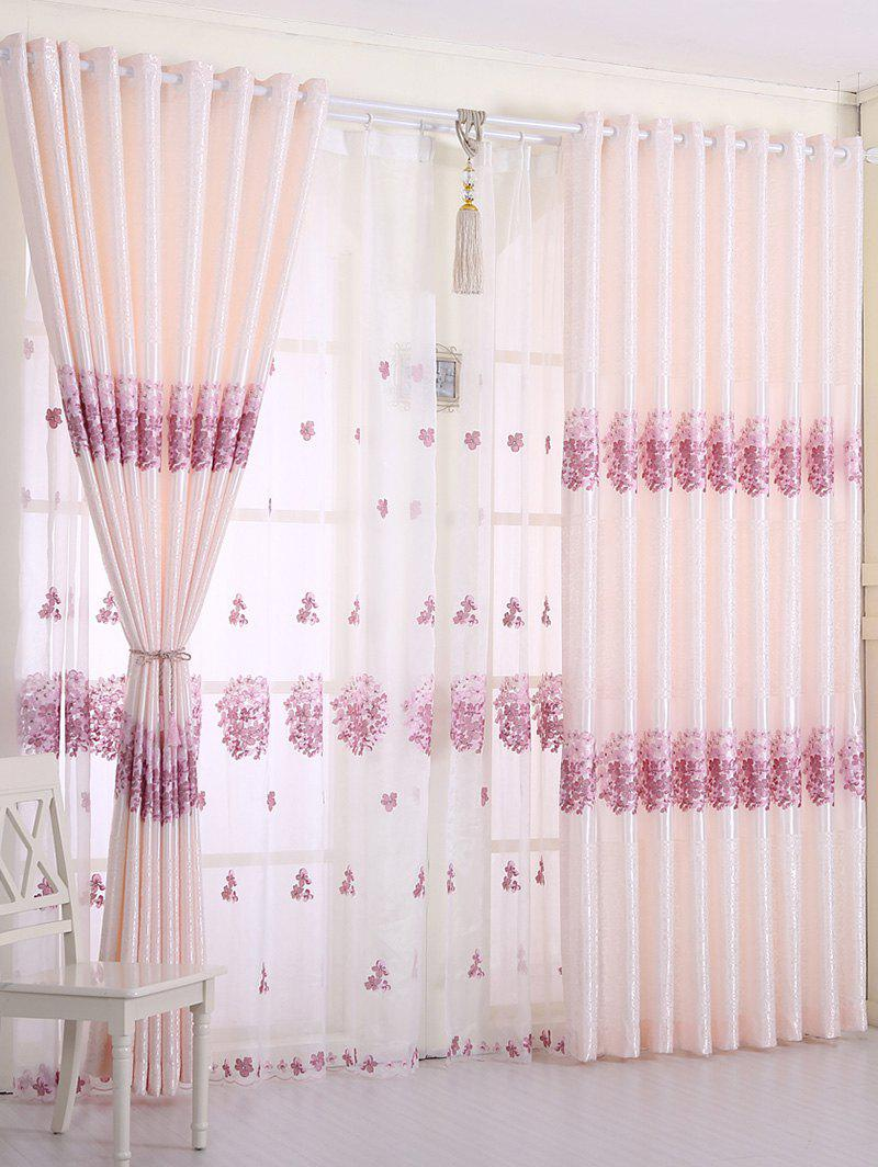 Outfit 1PCS Hydrangea Print Shade Blackout Curtain ( Without Tulle )