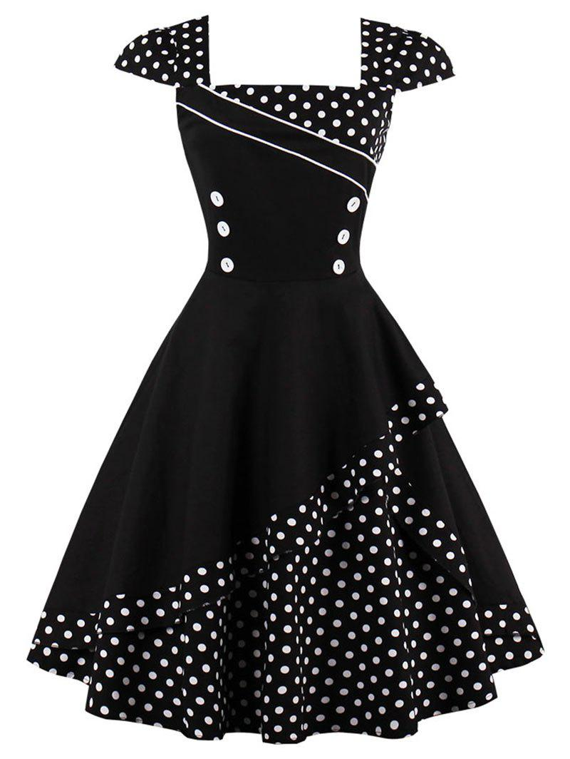 2019 Cap Corset Vintage Spotted Dress | Rosegal.com