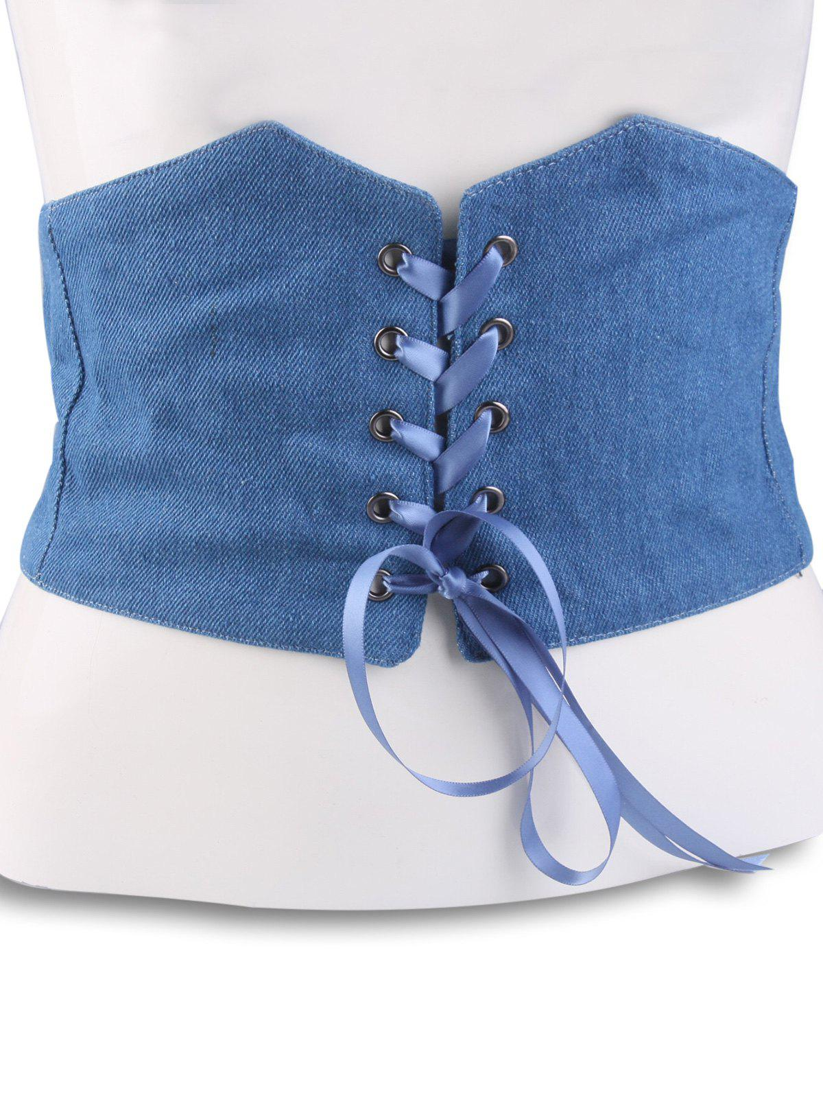 Lace Up Stretchy Denim Corset Belt from RoseGal
