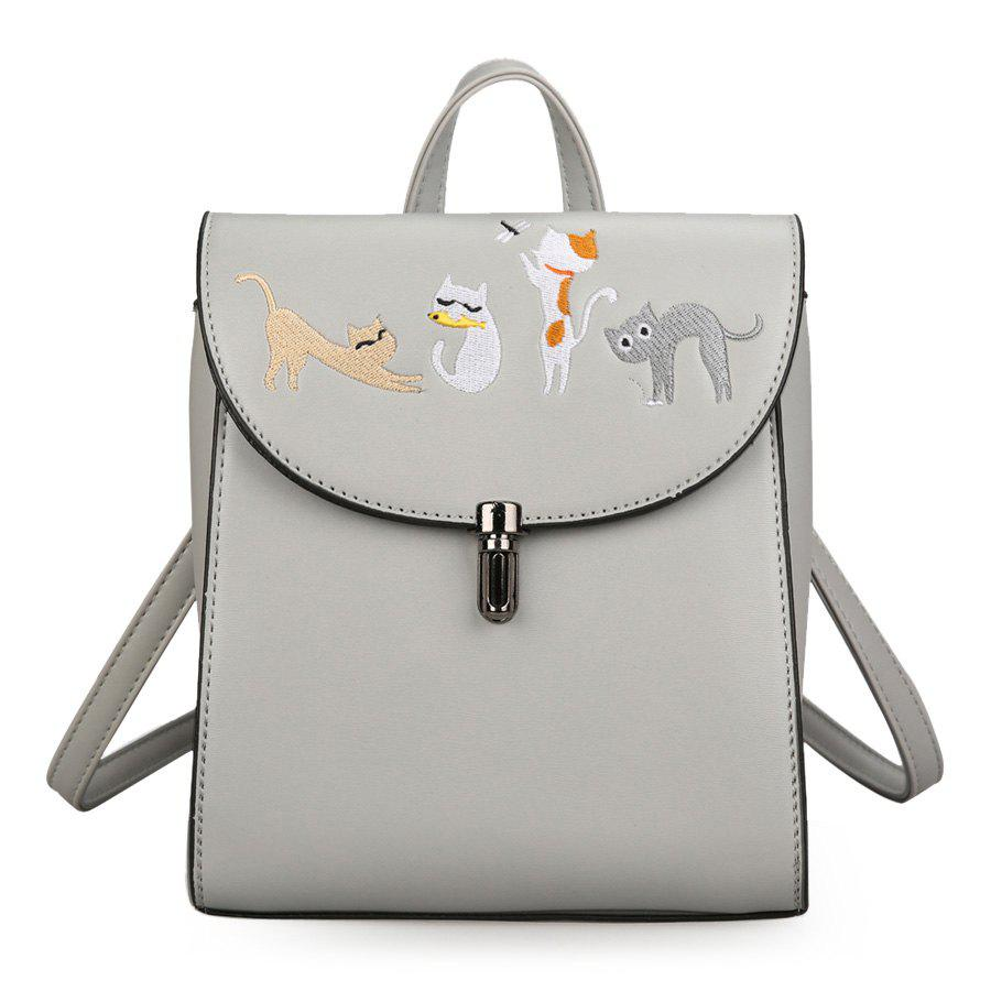 Store Cartoon Cat Embroidered Backpack