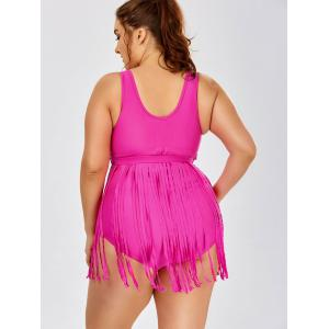Scoop Neck Solid Color Tassels One-Piece Swimsuit For Women - ROSE L