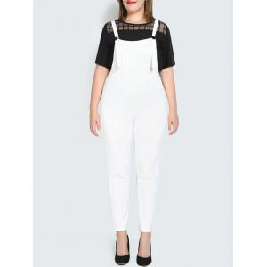Plus Size Narrow Leg Pinafore Pants - White - 2xl