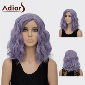 Adiors Medium Side Part Curly Colormix Synthetic Wig - Blue Gray - 2xl