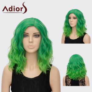 Adiors Medium Side Part Curly Colormix Synthetic Wig - Olive Green