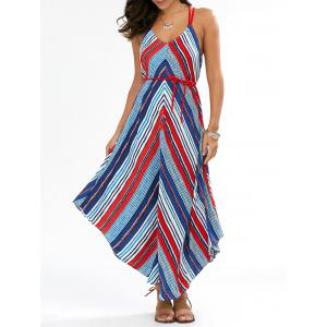 Handkerchief Chevron Maxi Casual Backless Dress
