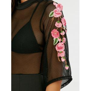 Zippered Sheer Floral Embroidered Club Dress -