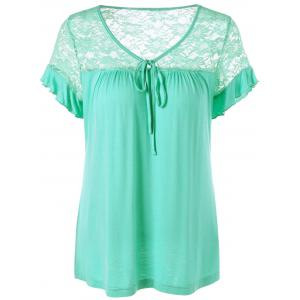 Tie Front Flounced Sleeve Lace Trim T-Shirt