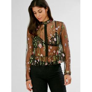 Floral Embroidered Semi Sheer Peplum Blouse - BLACK L
