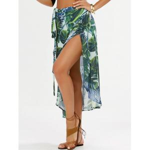 Leaf Printed Chiffon Wrap Skirt
