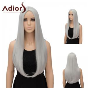 Adiors Long Middle Part Tail Adduction Straight Synthetic Wig - Silver White