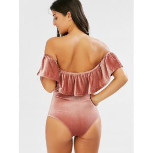 Off The Shoulder Velvet Flounce Swimsuit -