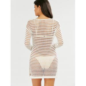 Slit Crochet Long Sleeves Cover-Up - WHITE ONE SIZE
