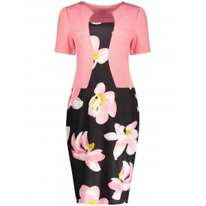 Notched Collar Floral Sheath Dress - Orangepink - S