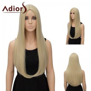 Adiors Long Middle Part Tail Adduction Straight Synthetic Wig - Light Gold