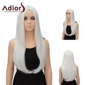 Adiors Long Middle Part Tail Adduction Straight Synthetic Wig - Pure White