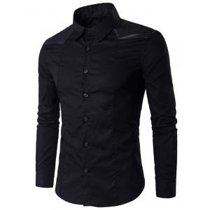 Faux Leather Insert Long Sleeve Shirt