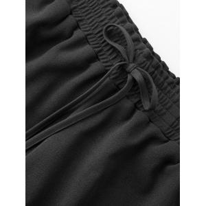 Plus Size Crochet Panel Elastic Waist Shorts - BLACK 2XL