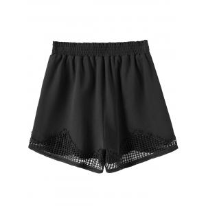 Plus Size Crochet Panel Elastic Waist Shorts -