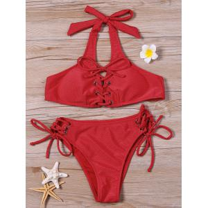 Halter Neck Lace Up Bikini Set - Red - 2xl